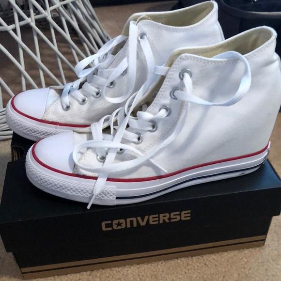 e79f28a17db270 Converse Shoes - White converse wedges size 9